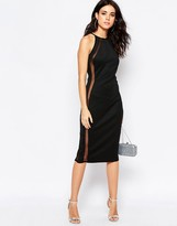 Oh My Love Mesh Insert Bodyon Midi Dress