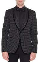 Dolce & Gabbana Shawl-Collar Dot-Print Velvet Evening Jacket, Black