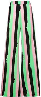 VIVETTA striped silhouette printed flared trousers