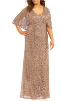Cachet Plus Sequined Capelet Gown