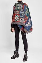 Alexander McQueen Embroidered Wool Cape with Silk