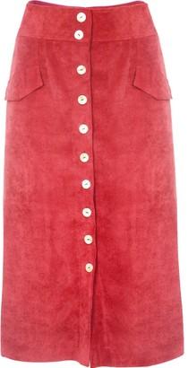 Gisy Peach Red Corduroy Midi Skirt