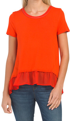 Scoop Neck T-shirt With Chiffon Trim