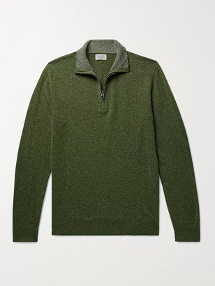 Hartford Slim-Fit Wool-Blend Half-Zip Sweater - Men - Green