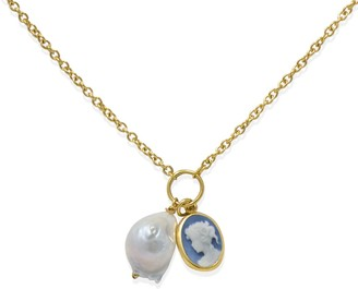 Vintouch Italy Sky Blue Cameo With A Pearl Necklace