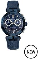 VERSACE Aion Blue And Silver Detail Chronograph Dial Blue Denim Strap Mens Watch