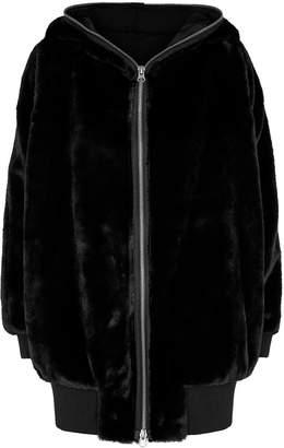 Free People Black Faux Fur Hooded Jacket