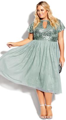 City Chic Sparkle Joy Dress - topaz