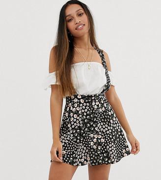 Asos DESIGN Petite exclusive pinafore mini skirt in mixed floral print-Multi