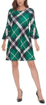 Jessica Howard Plaid Bell-Sleeve A-Line Dress