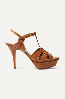 Saint Laurent Tribute Leather Platform Sandals - Tan