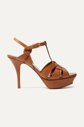 Saint Laurent Tribute Woven Leather Platform Sandals - Tan