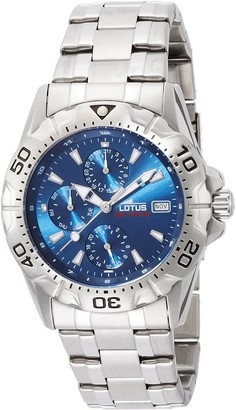Lotus Men's Quartz Watch with Blue Dial Analogue Display and Silver Stainless Steel Bracelet 15301/2