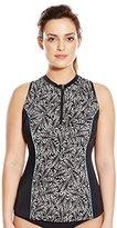 Fit 4 U Women's Plus-Size Twisted Sleeveless Rashguard with Built-In Bra