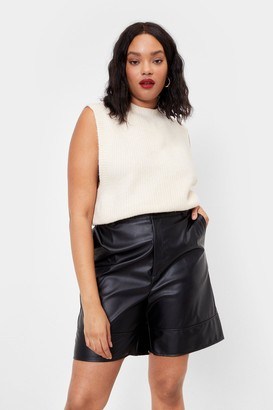 Nasty Gal Womens Faux Leather Back Down Tailored Longline Shorts - Black