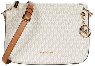 MICHAEL Michael Kors Lillie Large Messenger (Vanilla/Acorn) Handbags
