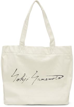 Yohji Yamamoto Off-White Signature Logo Tote