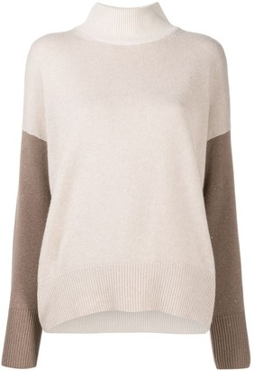 Peserico Two-Tone Mock Neck Top