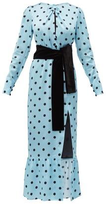 Raquel Diniz Teresa Polka Dot Silk Satin Dress - Womens - Blue Multi