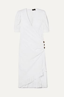 De La Vali Shanna Ruffled Wrap-effect Swiss-dot Cotton-poplin Dress - White
