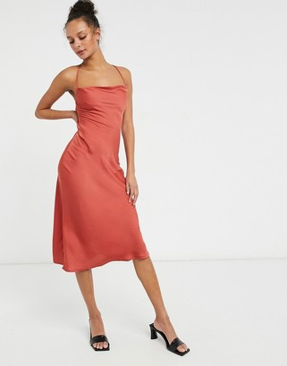 Lola May satin slip dress in red with strapping detail