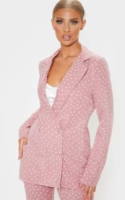 PrettyLittleThing Pastel Pink Polka Dot Longline Woven Blazer