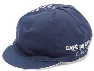 Café Du Cycliste Fish-print Panelled Cycling Cap - Mens - Navy