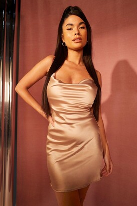 boohoo Petite Satin Cowl Neck Mini Dress