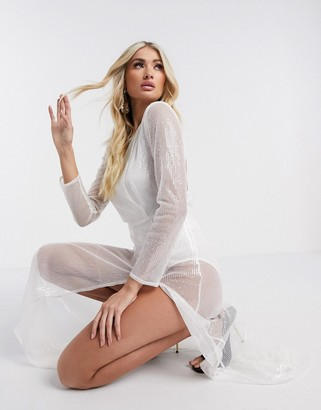Rare London long sleeve sheer maxi dress in white