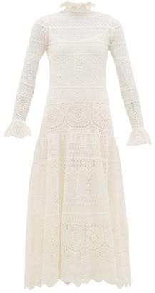 Alexander McQueen Frilled-neck Crochet-lace Cotton-blend Dress - Ivory