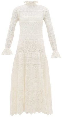 Alexander McQueen Frilled-neck Crochet-lace Cotton-blend Dress - Womens - Ivory