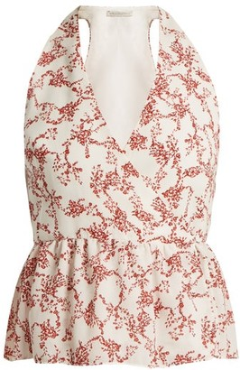 Emilia Wickstead Lucie Floral-print Halterneck Crepe Top - Womens - Red White