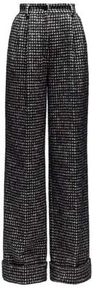 Dolce & Gabbana Houndstooth Wide Leg Trousers - Womens - Grey Multi