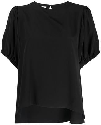 Societe Anonyme Puff Sleeve Silk Blouse