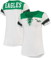 New Era Women's White Philadelphia Eagles Athletic Historic Lace-Up T-Shirt