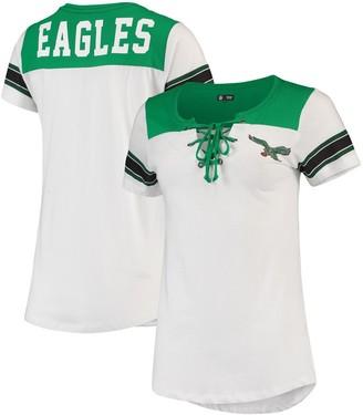 New Era Women's White Philadelphia Eagles Athletic Historic Lace-Up T-Shirt