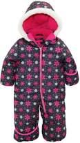 Pink Platinum Baby Girls One Piece Warm Winter Puffer Snowsuit Pram Bunting, Pink Snowflakes
