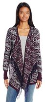 Derek Heart Juniors Long Sleeve Drape Front Aztec Jacquard Cardigan Sweater