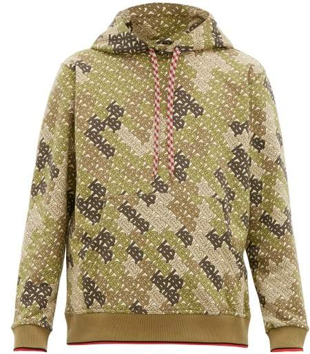Burberry Casper Tb Print Cotton Blend Hooded Sweatshirt - Mens - Khaki