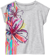 Gymboree Heather Gray Floral-Detail Slit-Back Graphic Tee - Girls
