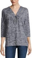 Liz Claiborne Elbow Sleeve Lace-Up Sweatshirt-Petite