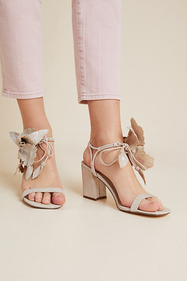 Cecelia New York Hibiscus Block Heels By in Silver Size 6.5
