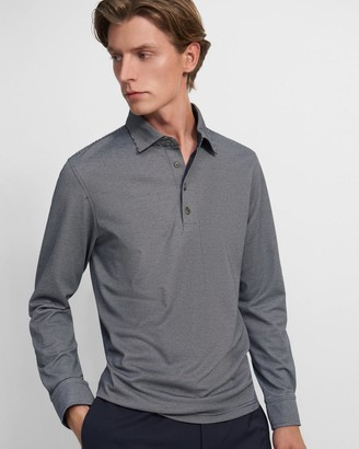 Theory Long-Sleeve Polo Shirt in Striped Cotton Blend