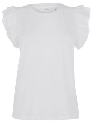 7 For All Mankind Ruffle Sleeve T Shirt