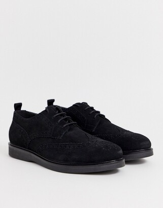 H By Hudson calverston brogues in black suede
