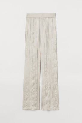 H&M Wide-cut Satin Pants - Beige