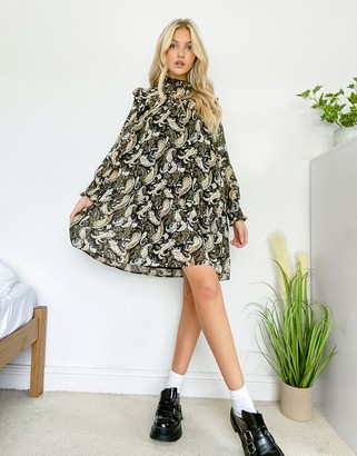 Object mini smock dress with shirred neck in paisley print
