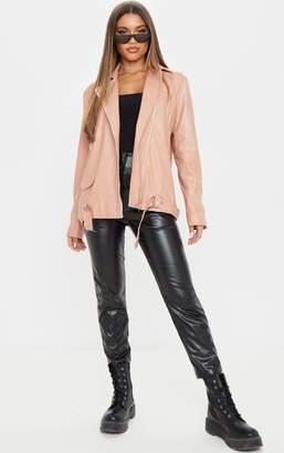PrettyLittleThing Dusty Pink Faux Leather Biker Jacket