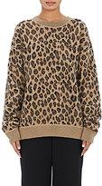 Alexander Wang Women's Leopard-Pattern Wool-Cashmere Oversized Sweater-Brown