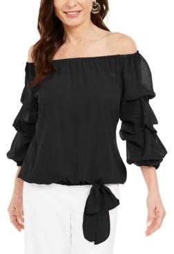 MSK Off-The-Shoulder Puff-Sleeve Top